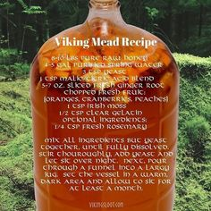 Viking Mead Recipe, got to make this soon Homemade Alcohol, Homemade Liquor, Homemade Wine Recipes, Beer Brewing, Home Brewing, Mead Wine, How To Make Mead, Viking Food, Mead Recipe