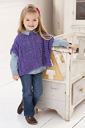 Young girls will love feeling fashionable in this comfortable to wear poncho. Choose her favorite color of this soft chenille yarn and crochet it in little time.