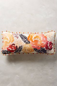 watercolor floral pillow anthropologiecom 98 hand embroidered cotton canvas polyfill anthropologie style furniture
