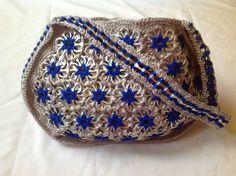 Soda Can Tabs Handbag Handmade in The USA Grey w Royal Blue Flowers | eBay