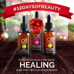 Ingredients in oils may aid in healing #acne and minor #burns. #12DaysOfBeauty #natural oils