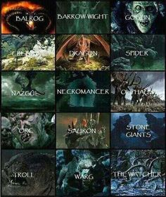 Various Creatures encountered throughout LOTR and The Hobbit