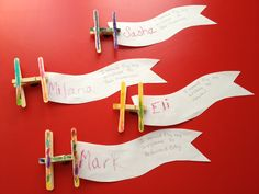 Learning to write names:Make airplanes with clothespins, color, add magnet, and banner with name.