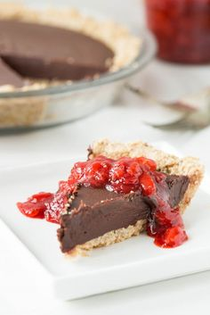 Chilled Dark Chocolate Pie with Toasted Almond Crust and Strawberry Vanilla Compote. Vegan & gluten-free!