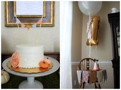 The House of Hydrangeas- pumpkin smash cake with pendants, felt highchair banner #smashcake #pumpkinfirstbirthday