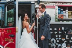 Firefighter wedding.  Get a picture of the bride and groom in the firetruck.
