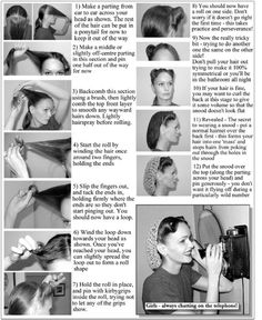 """- 1940's Victory Rolls -  iiddavanmunstertumblr  - Wartime hairstyles had to be neat, feminine and practical. The Victory Roll look was equally suitable with an evening gown, a crisp Defense uniform or a housewife's frock.  There are a few different ways to achieve Victory Rolls. Which method you find easiest depends on the length and texture of your hair. Victory Rolls can be worn as """"wings"""", 1on each side of center part, asymmetrically,one larger roll on; an extreme side part for daring…"""