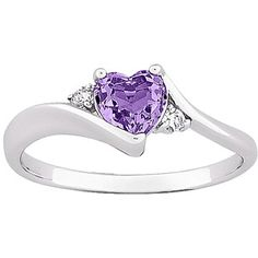 pretty promise ring. :)    0.7 Carat T.G.W. Amethyst Heart with CZ Accent Silver-Plated Ring