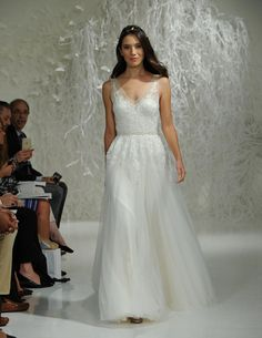 Watters Fall 2016 illusion V-neckline A-line wedding dress with ornate lace applique | https://www.theknot.com/content/watters-wedding-dresses-bridal-fashion-week-fall-2016