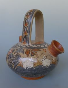 "Vintage Mexican Tonala burnished wedding vase water jug AMADO GALVAN 11"" tall"