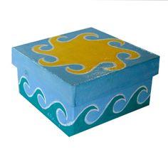 Summer Sun and Sea Decorative Gift Box Hand by annarobertsart