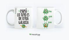 """Taza personalizada con la frase """"Papá, lo tuyo es de otra galaxia"""" + dibujos #taza #díadelpadre #felicidadespapa"""