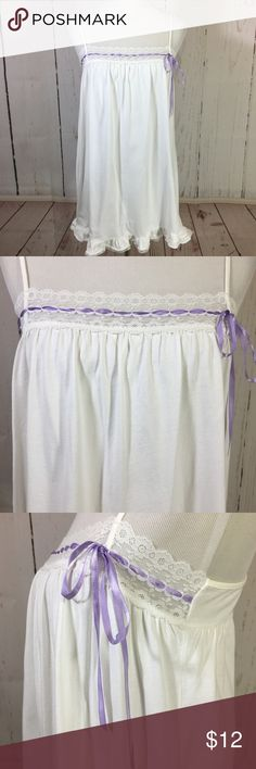 "Victoria's Secret White Purple Cotton Nightie S Victoria's Secret White Lace Purple Ribbon Cotton Nightie Size Small Adjustable straps Lace details  Shown on an adult size medium mannequin  Approximate flat measurements:  Chest: 16.5"" Length: 30"" Victoria's Secret Intimates & Sleepwear Chemises & Slips"