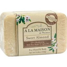 $5.39-A La Maison Bar Soap Sweet Almond - 8.8 oz, The traditional recipe dates back to 1828 in France when Marseille soap masters developed the famous French milled process, resulting into a rich, smooth, lathering, softer bar soap.