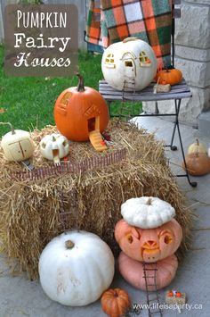 Pumpkin Fairy House Jack-O-Lanterns: this Halloween carve your pumpkins into fairy houses, and see the warm glowing light through the windows at night.  Add a few fairy accessories and you have the perfect Jack-O-Lantern.