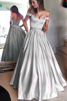 Gray satins off shoulder long prom dress, long formal dress