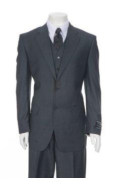Vinci Mens Black Sharkskin Vested High Fashion Suits 33MR ...