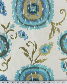 Teal Turquoise Chartruese and Beige Floral by StitchandBrush, $250.00