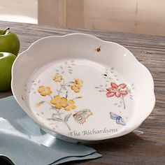 LENOX Butterfly Meadow Serving Pieces  - Butterfly Meadow®  Pie Dish - personalized.  Hint, hint.