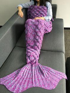 Fish Scales Design Crochet Knitting Mermaid Tail Style Blanket
