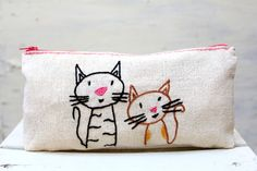 Mom cat and baby cat make up bag / pencil case/ hand by NIARMENA, $19.00