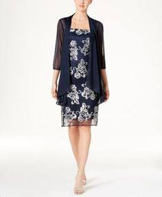 R & M Richards Floral-Embroidered Dress and Jacket  | macys.com