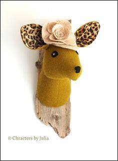 Olive green tweed textile doe. Faux taxidermy deer head. OOAK fabric sculpture.