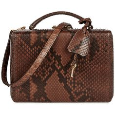 Mark Cross Grace small dark brown python box bag ($3,695) ❤ liked on Polyvore featuring bags, handbags, python handbags, top handle handbags, lock bag, brown purse and dark brown bag