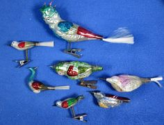 Vintage Blown Mercury Glass Bird Christmas Tree Lot Of 7 Clip On Ornaments