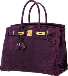 Hermes 35cm Shiny Cassis Porosus Crocodile Birkin Bag with GoldHardware .