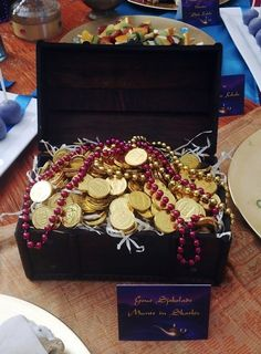 Treasure Chest with Gold Chocolate Coins & Jewels