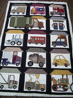 truck quilt is so cute ... Love how one truck takes up two blocks ... Also how a Love Bug got in there.