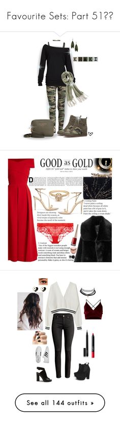 """Favourite Sets: Part 51❣️"" by moon-crystal-wolf ❤ liked on Polyvore featuring Plush, Roque, Alloy Apparel, Ted Baker, Free People, camo, wedgesneaker, offtheshoulder, Preen and La Perla"