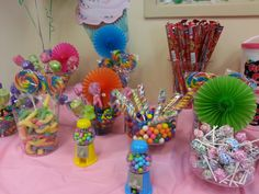 Candy buffet for a childs birthday (bowls from party city)
