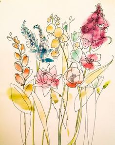 Flowers drawing watercolor water colors Ideas Plants are definitely the principal factors Flowers Illustration, Floral Illustrations, Botanical Illustration, Watercolor Illustration, Watercolor Water, Watercolor Drawing, Pen And Watercolor, Watercolor Flowers, Painting Flowers