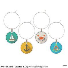 Wine Charms - Coastal, Beach Theme