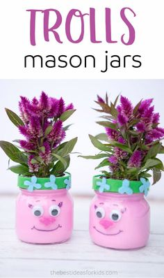 Make these adorable Trolls Mason Jars for a Trolls-themed party or for a kids room! Trolls party ideas, Trolls crafts, Trolls kids crafts, Poppy Trolls ideas,