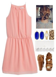 """Peachy•prints"" by thedancersophie ❤ liked on Polyvore featuring MANGO, Kendra Scott, Kate Spade and Tory Burch"