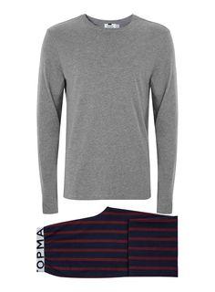 859f953b13 Grey Burgundy And Navy Stripe Pyjama Set