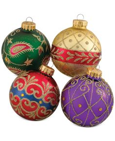 Kurt Adler Set of 4 Imperial Design Glass Ornaments