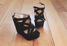 Strappy black wedges are also an option! Although if you're going black dress, might want to add a splash of color with the shoes.
