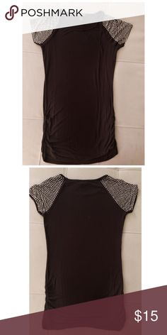 INC Black Top with Sequins on Cap Sleeves M Super cute black top from Macy's that's been worn only a few times. Add a little sparkle to your outfit with the sequined sleeves! INC International Concepts Tops Tees - Short Sleeve