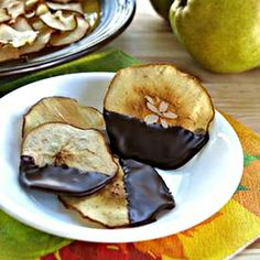 Chocolate Dipped Pear Chips #food #yummy #delicious