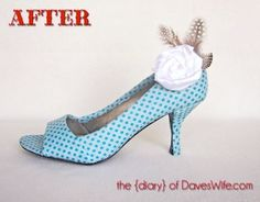 The polka dot fabric on these heels are nice – and I like the addition of the shoe clip.