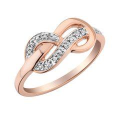 Bague Infini serties de diamants totalisant 0.05 Carat Pureté:I Couleur:GH - En Or Rose 10K - Bijouterie Doucet Latendresse