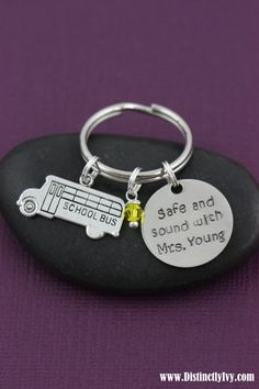 School Bus Driver Gift - Teacher Gift - Back to School - Thank You Gift - Teacher Appreciation - Personalized Name Key Chain -Safe and Sound