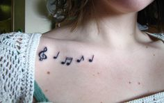 music notes collarbone tattoo 52 http://hative.com/cool-collar-bone-tattoos/