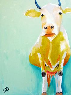 30x40 Cow Painting Original Acrylic on Canvas by LoganBerard, $325.00