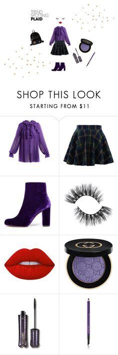 """Purple plaid paradise"" by lichipeachy on Polyvore featuring Mode, Gucci, Chicwish, IRO, Lime Crime, tarte, Estée Lauder, Betsey Johnson, contestentry und NYFWPlaid"