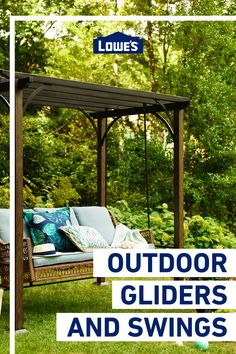 Relax in your outdoor space with gliders and swings. Backyard Patio Designs, Backyard Projects, Outdoor Projects, Backyard Landscaping, Outdoor Rooms, Outdoor Living, Outdoor Glider, Gliders, Swings